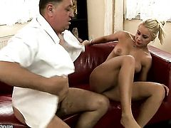 Blonde Nikky Thorne is too horny to stop sucking her mans erect sausage