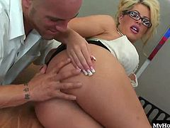 sitting next to the drop dead gorgeous, blonde secretary Brooke Haven, especially when she lets her giant hooters hang out of her dress. Soon, shes got her panties off and shes bent over her desk, while one of the guys is ramming his rod into her shaved box, before giving her a tasty facial.