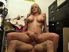 Stormy Daniels has a nice time playing with dudes cum loaded dick