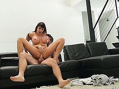 Busty Eva Karera gets slammed on the couch in spoon position
