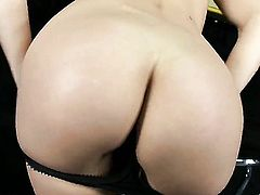 Blonde Sophie Moone shows her body parts before she masturbates