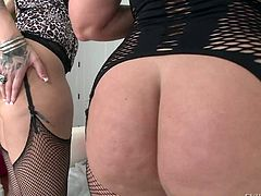 Curvy women in stockings Dee Siren and Lucky B Dallas flaunt their big asses in this hot video. Huge ass ladies put their meaty butt cheeks on display. Watch them pose.