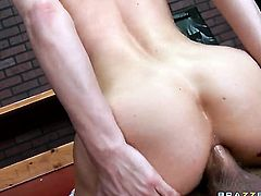 Xander Corvus admires cute Diamond Foxxxs body after she takes his tool in her butthole
