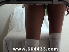 Waitress's panties and leg