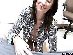 Brunette Alexa James with bubbly bottom gets her nice face covered in sperm on cam for your viewing pleasure