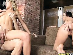 Leny Ewil gets pleasure from fucking Blonde Lexxis Brown in her hot mouth after backdoor sex