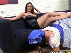 Brooklyn Chase is about to take out all her frustration on a cuckold and a huge black cock.