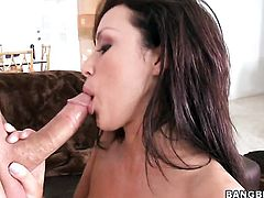 Brunette Breanne Benson satisfies mans sexual needs and desires in tugjob action