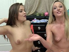 Nude lesbian duo getting flirty in enticing backstage clip