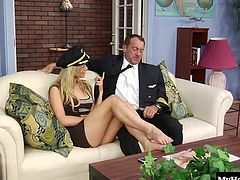 Kayden Kross is another blondie that the pilot cant keep his eyes or hands off. Watch him spread her shaved lips apart as he gets her ready for his extra big wide cock. After she gets it has hard as possible by bouncing her luscious twat up and down it, he busts all over her tongue.