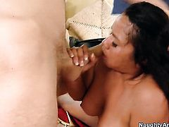 Danny Wylde admires shameless Caressa Celestes body before she takes his worm in her pussy hole