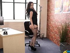 Secretary stunner in a blazing hot striptease