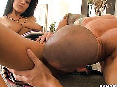 Ava Addams finds her mouth filled with guys rock hard tool