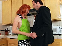 HAIRY MATURE REDHEAD SASHA FUCKS IN KITCHEN