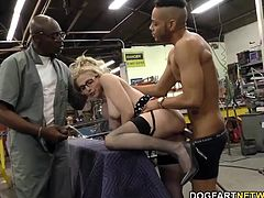 This is her very first gang bang. She's going to open all her holes up for the fellahs, and she's going to make sure the cum gets blasted in her cunt or down her throat.