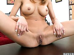 Blonde chicana Jandi Jenner does dirty things and then gets her lovely face painted with cock juice