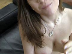 Naughty brunette Nicole Sweet with nice titties is good at giving headjob. She touches her fat cock with smile on her face and then gets mouth fucked from your point of view.