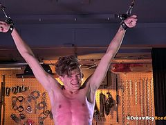 Screaming Twink Hung Upside Down Cock Play - Whipping BDSM