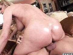 Blonde Tanya Tate with big ass stimulates dudes love torpedo with her hands until he explodes