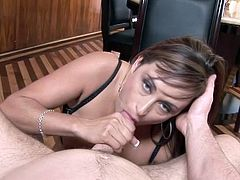 Claudia Valentine a gorgeous gal having her tits fucked before cumshots.