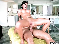 Tattoos Christy Mack with round booty and bald twat has blowjob experience of her lifetime with hard dicked dude