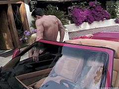 Anita Blond brings you big boobs and fast cars in this outdoor scene. She gives as good as she gets, when her man rides up in this sleek sportscar, before giving it to him, as a blowjob finishes him off on the car door!