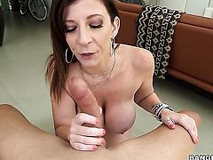 Brunette Sara Jay with gigantic knockers cant live a day without taking guys sturdy meat stick in her pussy