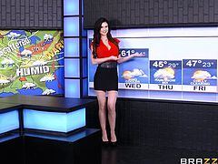 When the program ends, the fun begins. It looks like a hot front is moving in, as her co-worker gives her what she's been wanting all day. As the cameras still roll, they take their time, as he goes to town on her pussy.