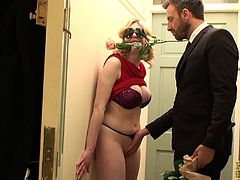 Blonde wears a blindfold for erotic Valentines Day sex