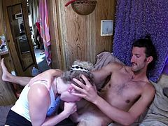 Incredible deep throat action by hipster couple