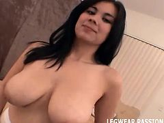 Watch my play with my big tits in white stockings