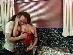 Clothed redhead has her cunt licked by an average looking dude