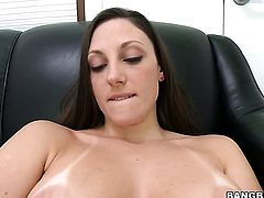 Brunette Melanie Hicks satisfies mans sexual needs and desires and then gets her pretty face covered in cock juice