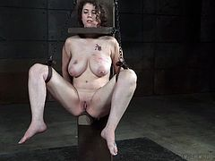 You might think of the misspelling, that it should be bored rather than board, and usually you'd be right. However, seeing how she's restrained, you understand what I meant. The slut has a board securing her head and one for her tits, with a round piece on which rests her pussy. This is weird but hot.