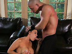 Vanilla Deville has fire in her eyes as she gets her throat drilled by her bang buddy