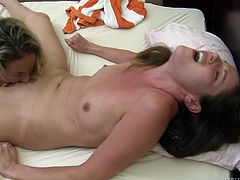 When two beautiful girls get together and satisfy one another, it is more than fun to watch. How to touch them, where to lick them and when to finger them faster, as they are about to have amazing orgasm. Samantha and Elexis spent some time privately in bedroom. You wouldn't want to miss the moans.