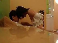 Asian wifey is warmed up in mish position and rides her hubby's cock