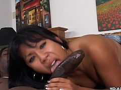 Cute Asian babe Kyana, is amazed by the size of her boyfriend's huge black cock. Luckily, this slut has a lot of cock sucking experience, so his massive member can slide down her throat easily. Her warm cunt is the perfect place for a massive black cock.