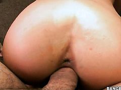 Brunette Natalia Rossi places her around the rod and then moves it up and down