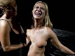 Blonde Katy Parker with huge breasts gets her honeypot attacked by Linda Rays tongue