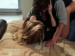 Jessica drake has fire in her eyes while sucking mans stiff sausage