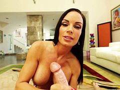 Good looking brunette MILF Diamond Foxxx gets her wet massive hooters fucked from your point of view. She strokes it with her tittis and then give handjob to Kevin Moore. Hes a lucky one.