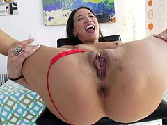 Sex hungry asian Kalina Ryu in red thong panties spreads her legs wide open and gets her juicy pussy eaten out. He licks her asian pussy and then she sucks his fat cock. Watch them enjoy oral sex.