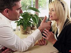 Adorable blonde chick seduced and penetrated with ease