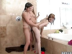 Brunette Mercedes Lynn with hairless bush gets her snatch attacked by lesbian Mae Olsens tongue