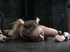 The lovely lady hog tied to the floor with restraints and chains, is the one and only Iris Rose. The little bitch looks like she got in for more than she bargained for, but nothing she can do about it now. Her executor does give her some pleasure, by pressing a vibrator directly on her clit and pussy.