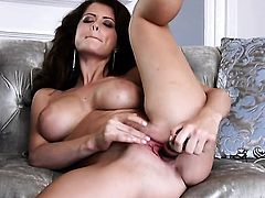 Emily Addison with big melons and clean twat strips down to her bare skin for your viewing entertainment