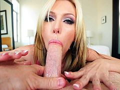 Lovely blonde babe Jeanie Marie with beautiful eyes gives tugjob from your perspective. She jerks man off with both hands and gives head as well. Jeanie Marie is hungry for cum!