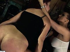 Brunette Pop Anca with big melons is on the edge of nirvana after sensual sex with lesbian Mandy Bright