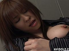 Japanese gal called Yui Asahina loves rubbing her clit right in the office